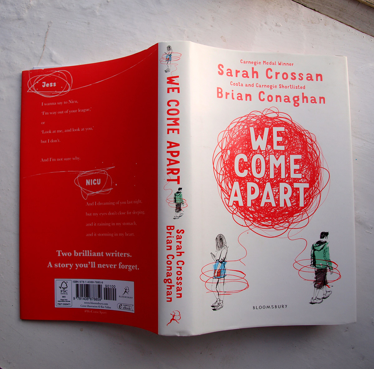 book cover illustration for Bloomsbury, We come Apart by Sarah Crossan and Brian Conaghan, hand drawing, pen and ink on paper, line drawing, people drawing book art, editorial publishing design