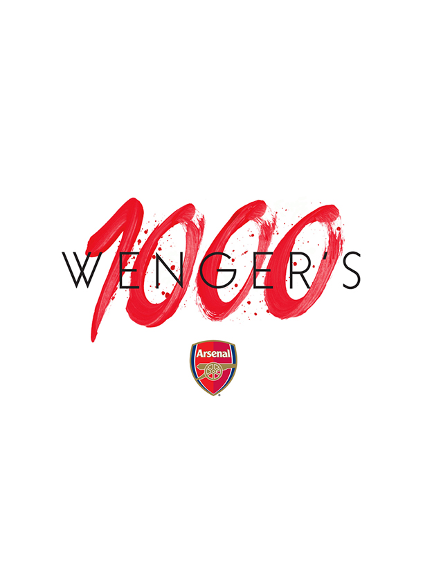 Arsene Wenger 1000th game, Arsenal football club, hand painted lettering type, brush ink, drawing, app design, graphic design