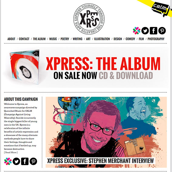 Xpress CALM campaign, illustration, art direction, drawing, creativity, mental health, line drawing, graphic design, charity album, album art