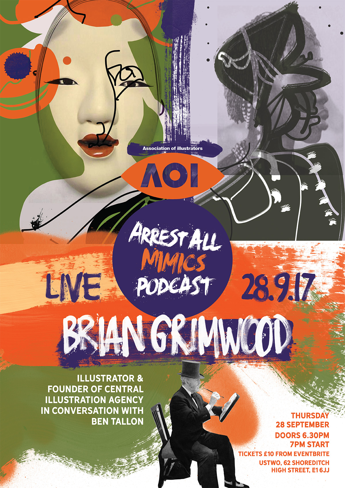Brian Grimwood in conversation with Ben Tallon, Arrest All Mimics live poster design and illustration, CIA founder, illustrator in London, artist, digital illustrator, line drawing and creative
