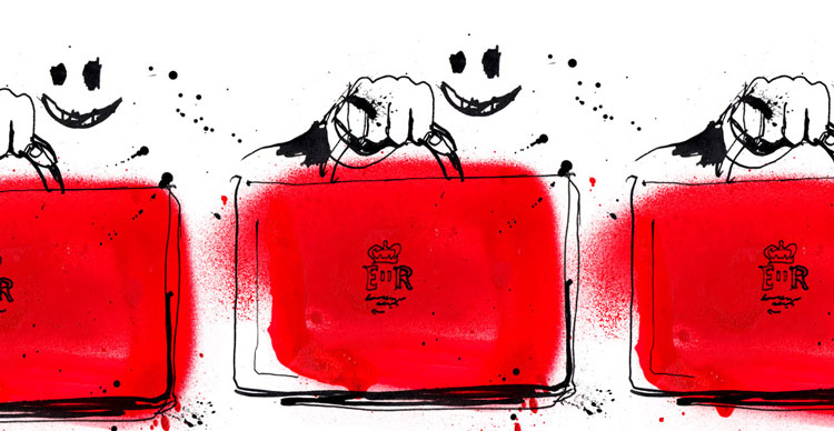 Ink face, hand drawn holding UK budget briefcase, hand drawn