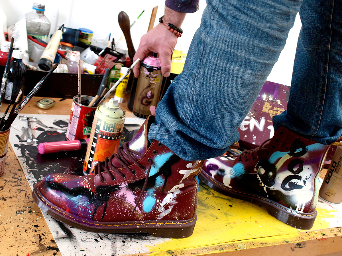 dr martens boots, hand painted and designed by ben tallon