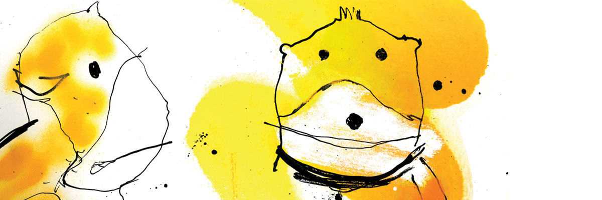 Sir John Hegarty illustration, Arrest All Mimics podcast 75th episode, advertising, flat eric, BBH, Saatchi and Saatchi, spray paint, line drawing, illustrator London, Ben Tallon, creative industry